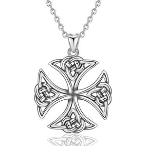 925 Sterling Silver Celtics Knot Cross Pendant Necklace