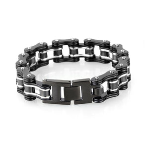 Biker Men Silver & Black Motorcycle Chain Bracelet