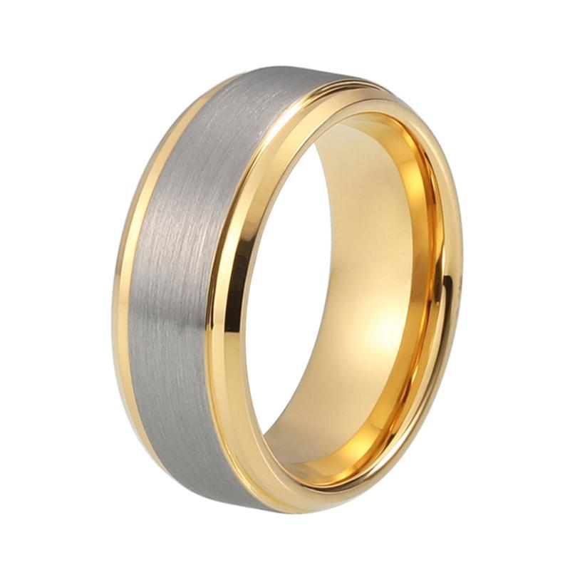 8mm Grey Matte Brushed Tungsten Carbide with Gold Coated Tungsten Wedding Band - Innovato Store