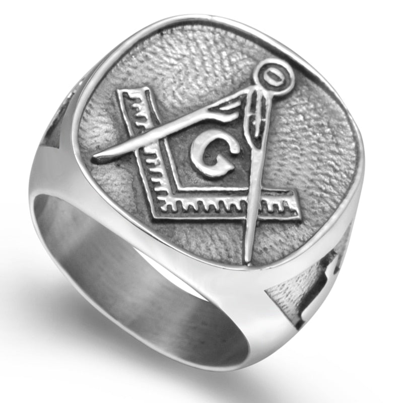 Pure Stainless Steel Freemason Ring
