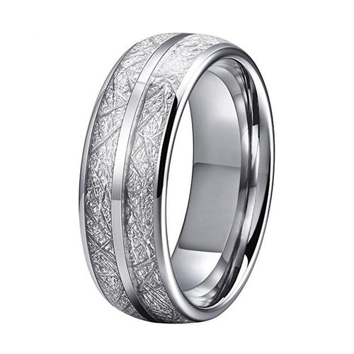 Superior Silver Coated Tungsten and Silver Meteorite Inlay Wedding Band
