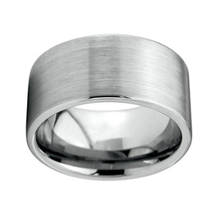 Tungsten Carbide with Pipe Cut Brushed Silver Plated Top Wedding Band