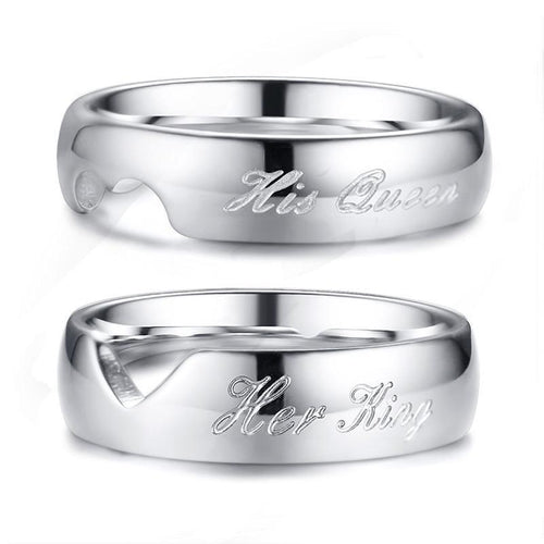 His Queen & Her King Couple Stainless Steel Wedding / Promise Ring