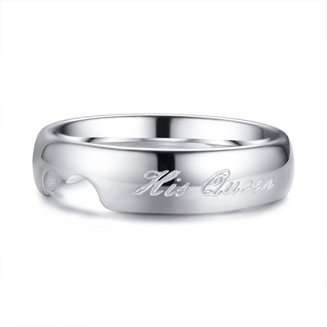 His Queen & Her King Couple Stainless Steel Wedding / Promise Ring - Innovato Store