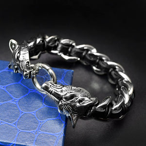 Double Wolf Head 316L Stainless Steel Bracelet with Leather for Men