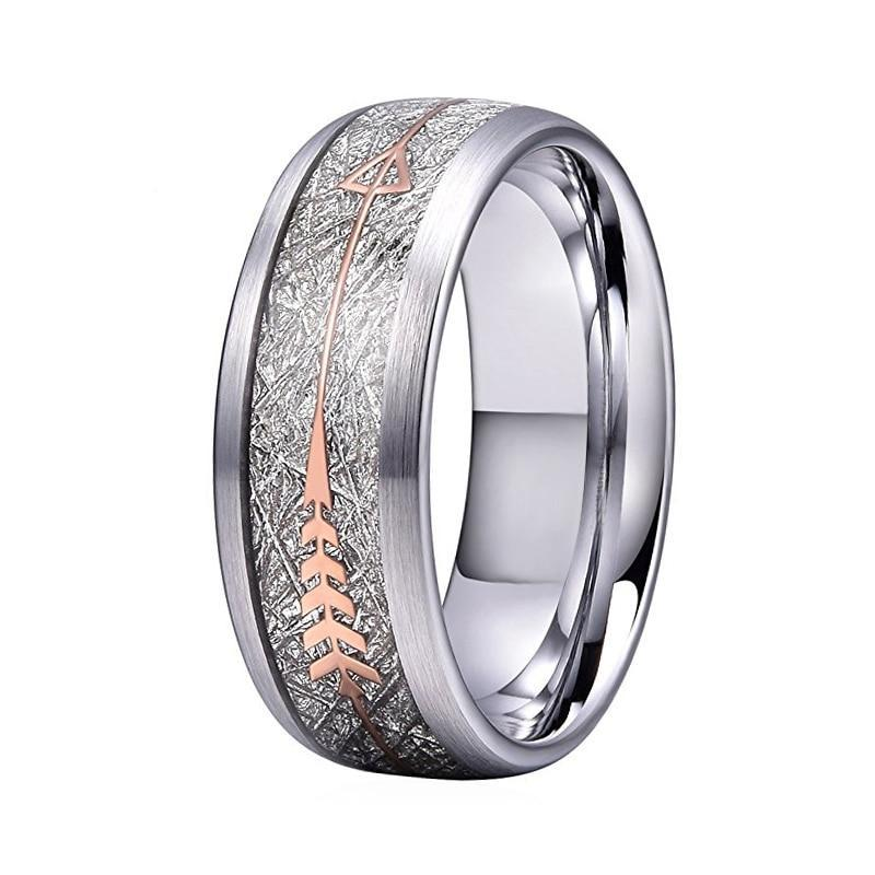 Silver Coated Brushed Matte Tungsten Band with Silver Plated Meteorite Ring
