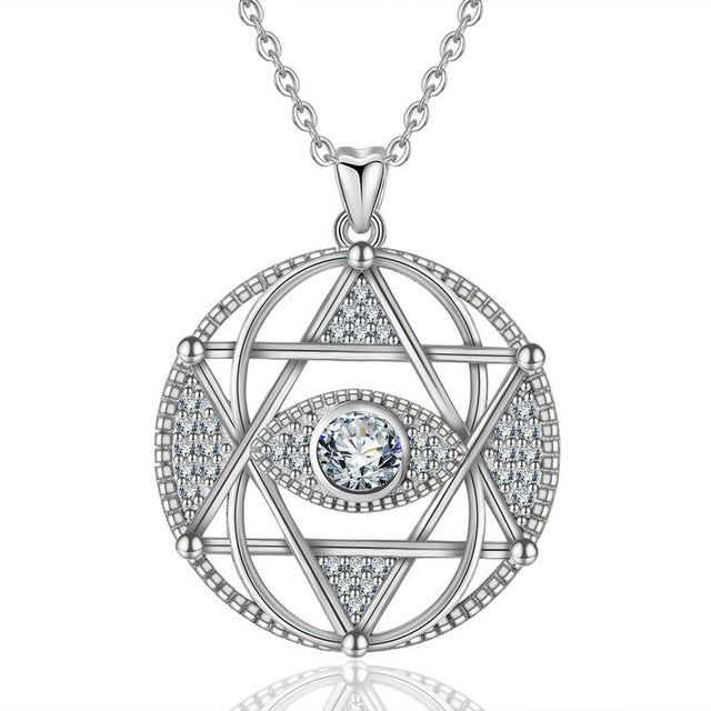 925 Sterling Silver Star of David with Evil Eye Pendant Necklace