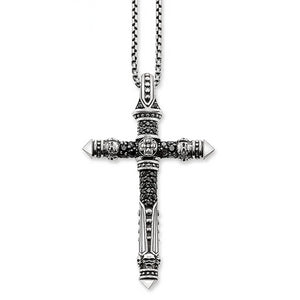 925 Sterling Silver Punk Cross Pendant Necklace