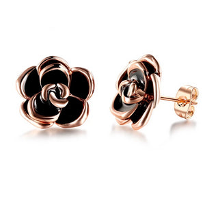 Black and Rose Gold Rose Flower Stud Earrings