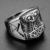 20mm Silver and Black Toned Hammer of Thor Men's Ring - Innovato Store