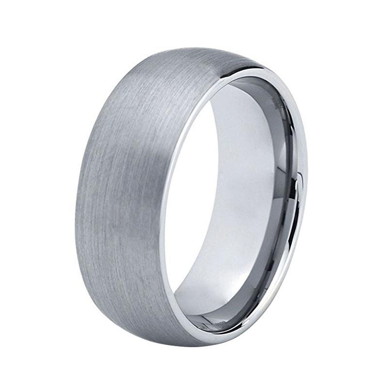Silver Brushed Matte and Silver Coated Interior Tungsten Carbide Ring