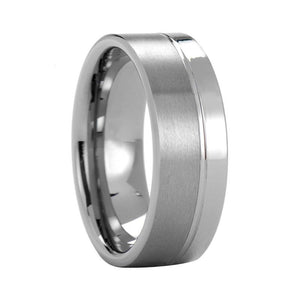 One Step Brushed Matte Silver-Tungsten Carbide Ring - Innovato Store