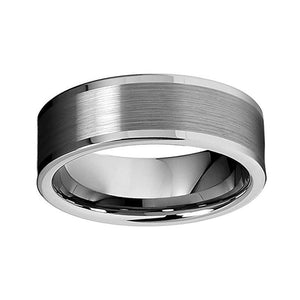 8mm Unisex Pipe Cut Tungsten Wedding Band Brushed Center Polished Edges Ring - Innovato Store