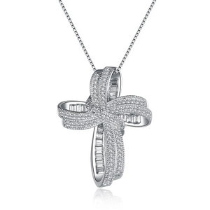 Cross Bowknot with White Cubic Zirconia Pendant Necklace