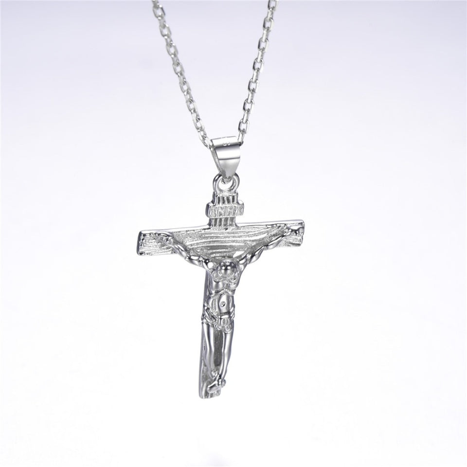 925 Sterling Silver Crucifixion of Jesus Pendant Necklace Christian Jewelry