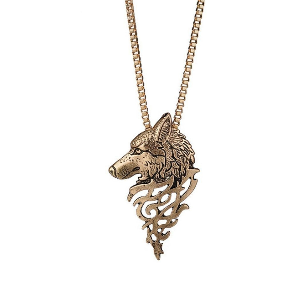 Retro Wolf Head Pendant Necklace