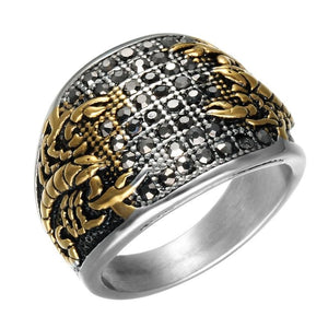 17mm Vintage Dual Toned Heavy Titanium Men's Scorpion Wedding Band with Crystals - Innovato Store