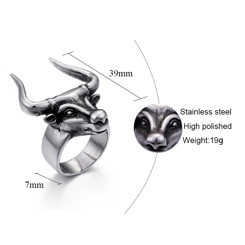 Stainless Steel Vintage Bull Horn Ring Men's Jewelry