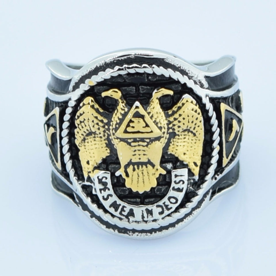 32 Degree Masonic Ring with Dual Tone Double Eagle Scout Detailing Men's Wedding Band