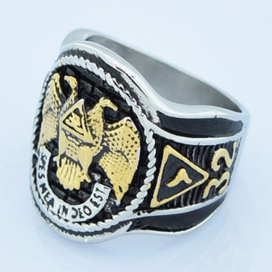 32 Degree Masonic Ring with Dual Tone Double Eagle Scout Detailing Men's Wedding Band - Innovato Store