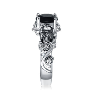 Silver Skulls, Leaves, Flowers and Crystal Gem Cubic Zirconia Wedding Ring