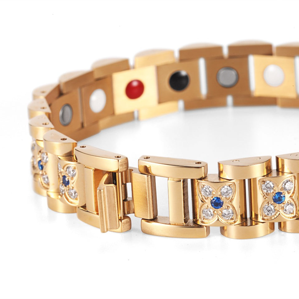Gold Plated Rhinestone Magnetic Bracelet