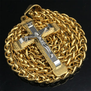 Gold and Silver Plated Stainless Steel Crucifix Cross Pendant Necklace