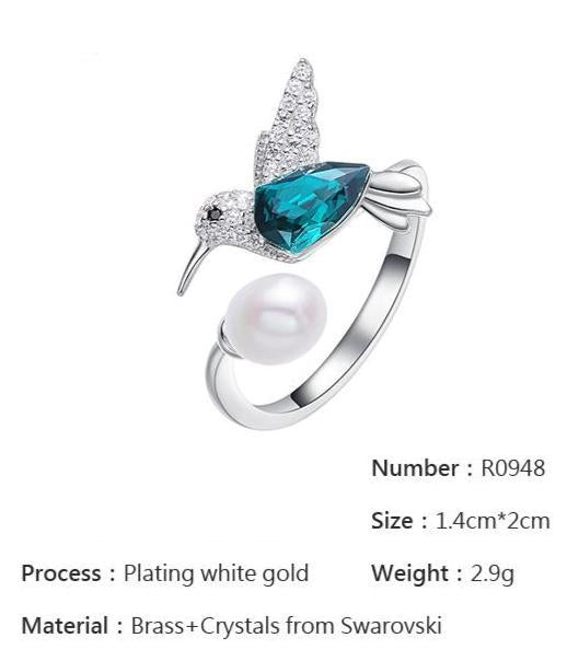Embellished with Crystals Hummingbird Blue Resizable Ring