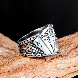 Silver-plated Poker Hearts Middle-finger Men's Gambler Ring
