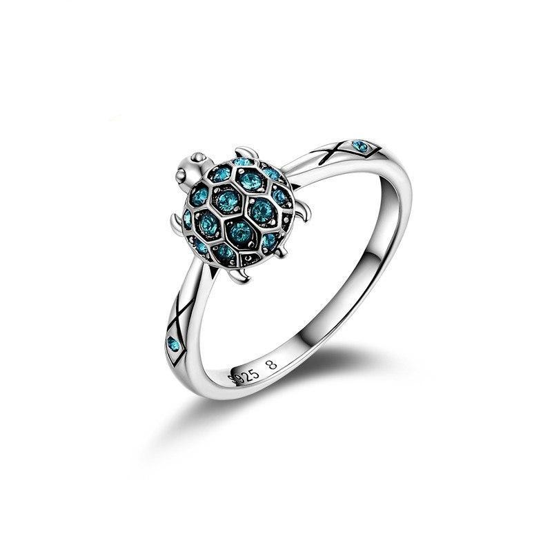 Silver Plated Turtle Blue Crystal Engagement Ring