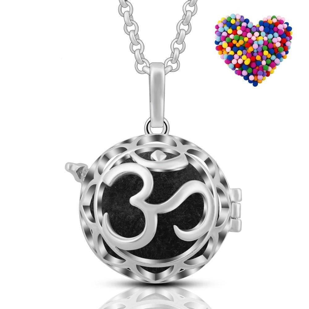 Om Silver Aromatherapy Pregnancy Harmony Ball Essential Oil Diffuser Necklace
