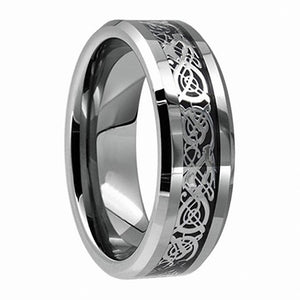 His & Hers Silver Celtic Dragon Inlay Tungsten Carbide Wedding Ring Set