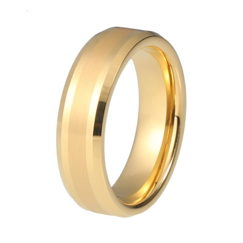 6mm Matte Brush finish Gold Coated Tungsten Carbide Ring - Innovato Store