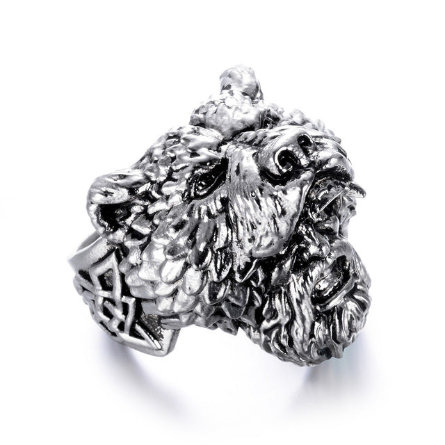 Viking Bear Man Ring Titanium Punk Biker Ring