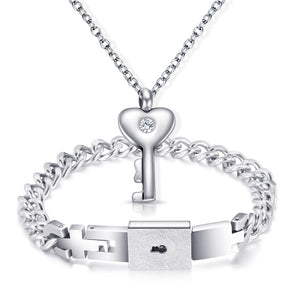Love Key Necklace and Lock Bracelet Couple Jewelry Set