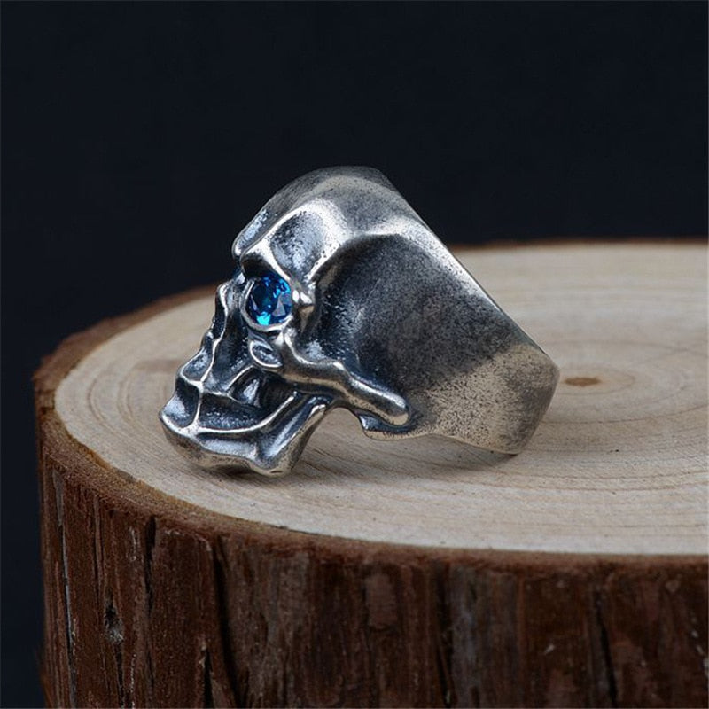 925 Sterling Silver Ring with Blue Zircon on a Skull Men's Jewelry