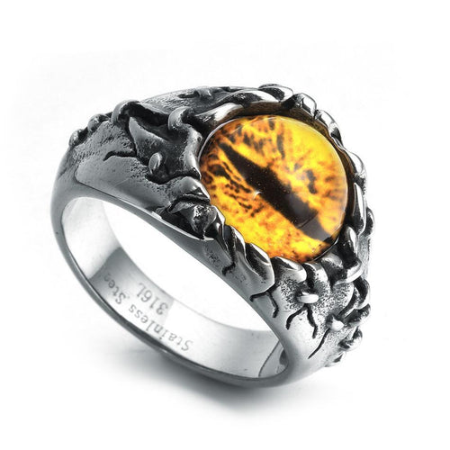 Black Shadow Reptile Style Ring for Women or Men Biker with Dragon or Devil Eye Design