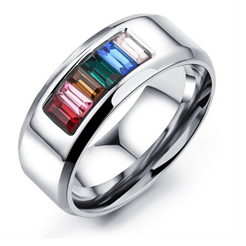Rainbow Crystals Silver Plated Ring for Men