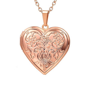 Gold Brass Photo Frame Heart Locket Pendant Necklace