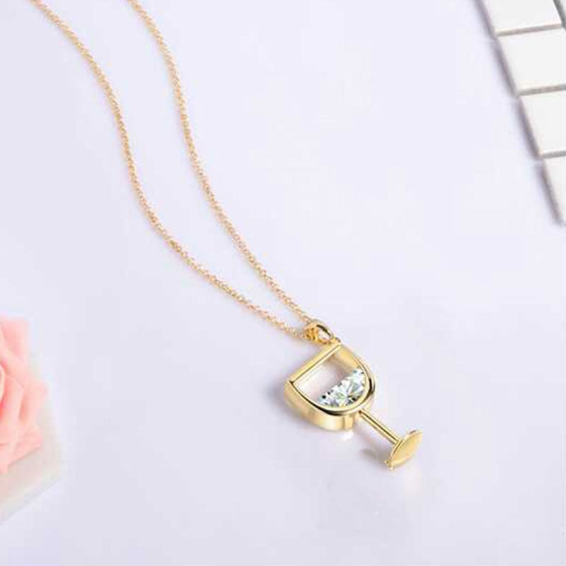 Gold Stainless Steel Wine Glass Clear Cubic Zirconia Pendant Necklace