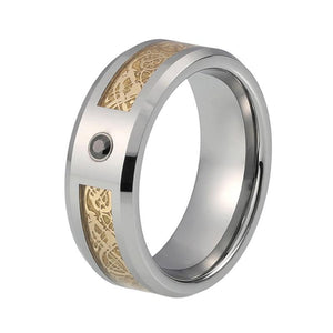 Silver Plated Ring with Gold Tone Dragon Inlay and Black Gem