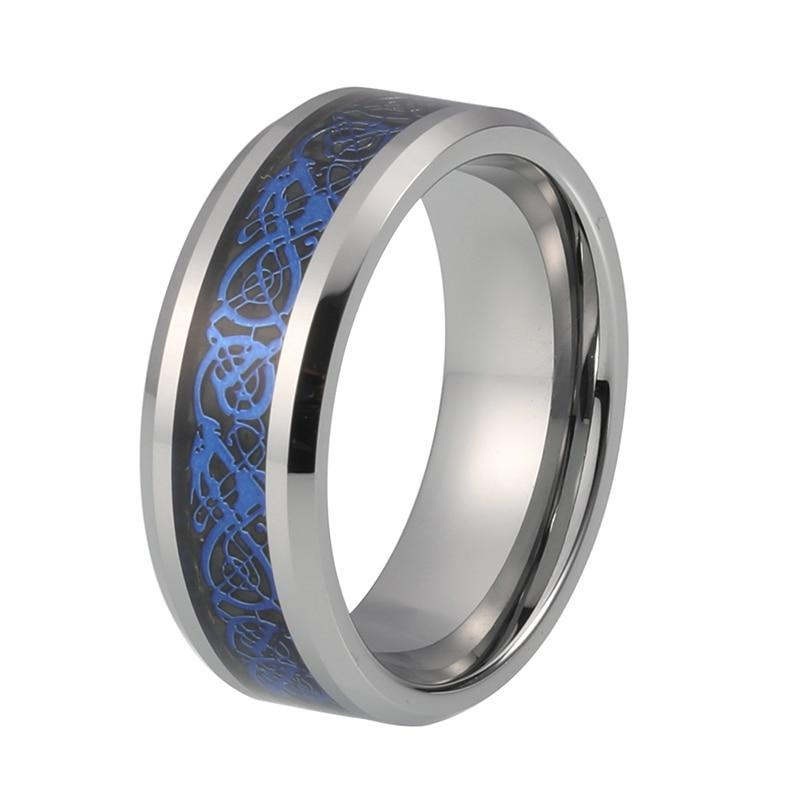 Blue Dragon Celtic over Carbon Fiber Silver-Tungsten Carbide Wedding Band - Innovato Store
