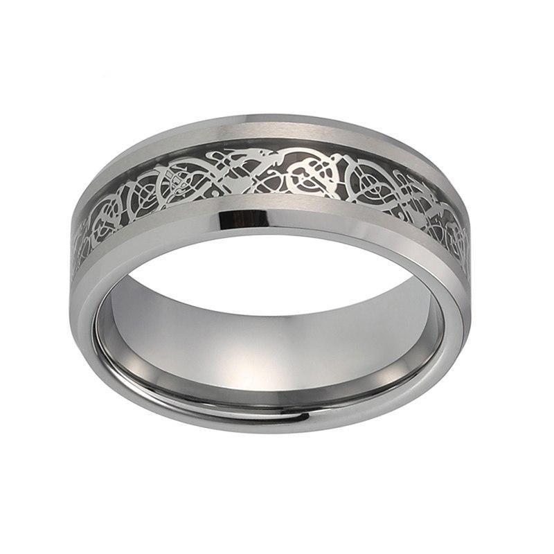 Tungsten Carbide and Silver Coated Dragon Pattern with Black Carbon Inlay Unisex Ring