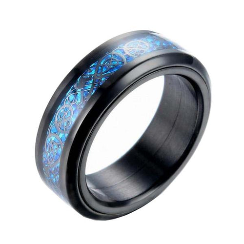 Black & Solver Tone Dragon Inlay Tungsten Carbide Spinner Ring - Innovato Store