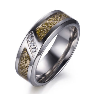 Titanium Wedding Band with Carbon Fiber and Blue Cubic Zirconia with Dragon Design and Gem stones