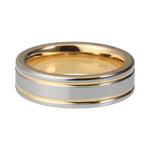 Sleek and Smooth Gold and Silver Plated Pipe Cut Tungsten Double Grooved Wedding Band