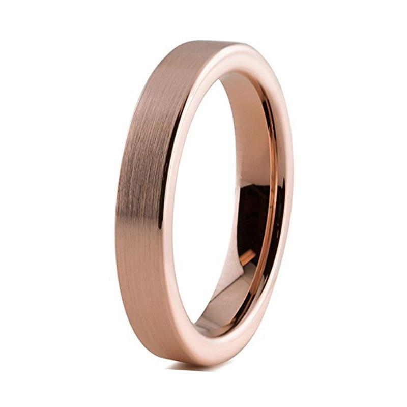 Tungsten Carbide Rose Color Pipe Cut Fashion Ring