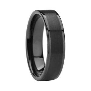6mm Black Polished Pipe Cut Tungsten Carbide Ring with Brushed Center - Innovato Store