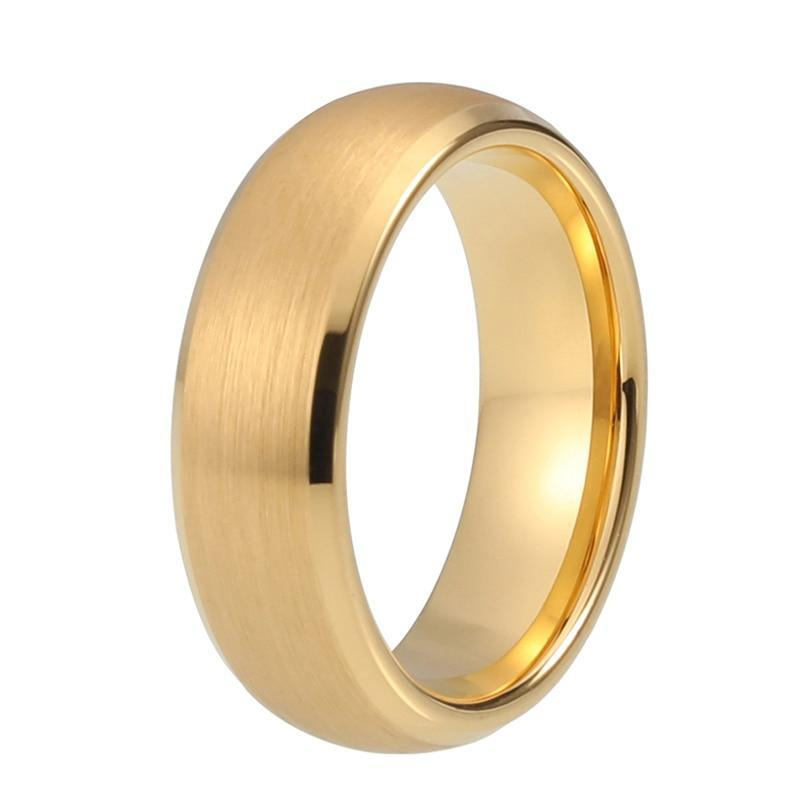 Gold Coated Tungsten Carbide Brushed Matte Finish Beveled Dome Shape Wedding Band - Innovato Store