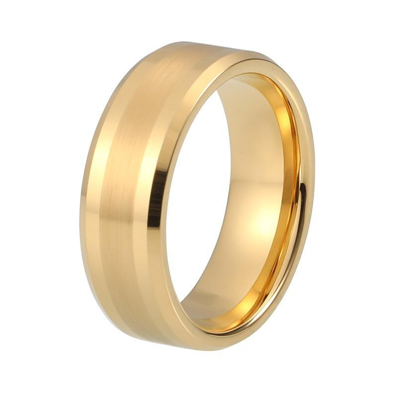 Unisex Matte Polished Tungsten Carbide Yellow Gold-plated Wedding / Engagement Ring